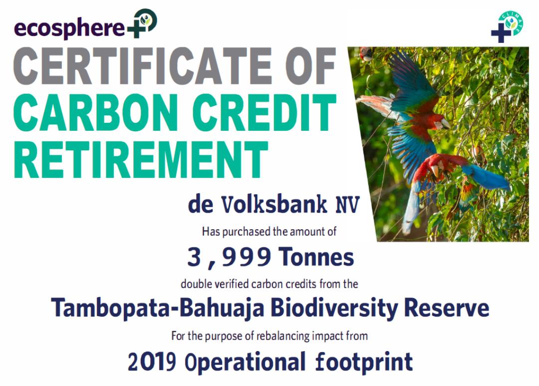 Certificate Tambopata Bahuaja Biodiversity Rererve