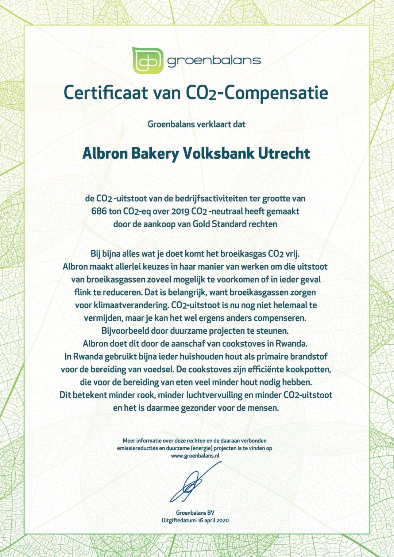 GB certif Albron Bakery Volksbank CO2 april2020